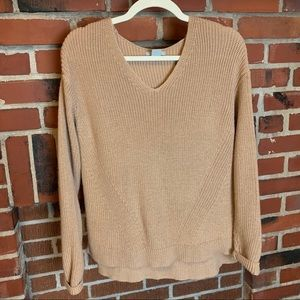 H&M Tan Acrylic & Wool Blend Knit Long Sleeve Top Size Medium